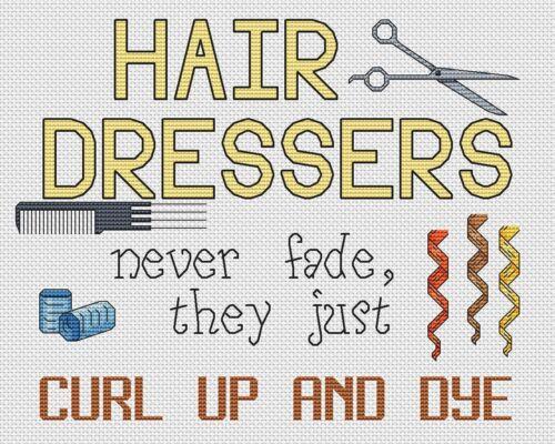 "Hair Dressers Curl Up And Dye Cross Stitch Design 10x8/"",25x20cm,kit//chart"