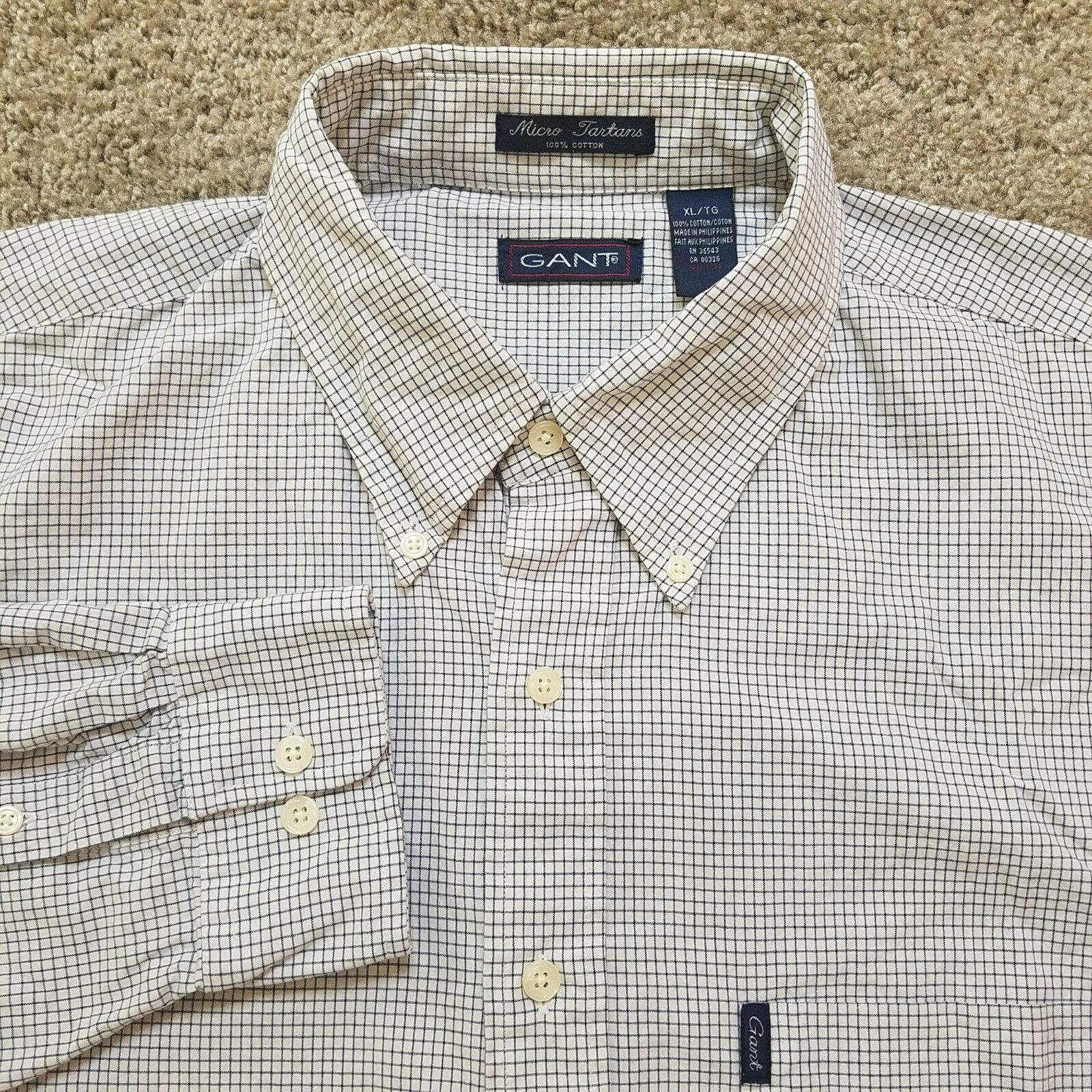 Gant USA XL Micro Tartans Shirt White and Black C… - image 1