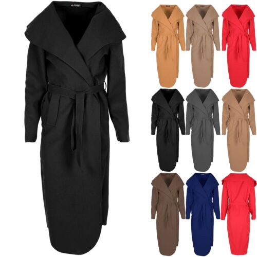 Womens Ladies Tie Belt Waterfall Italian Cape Cardigan Maxi Duster Trench Coat