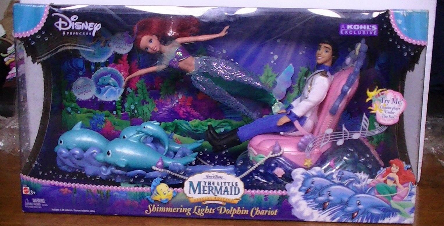 Little Mermaid Special Edition Shimmering Lights Dolphin Chariot - New In Box