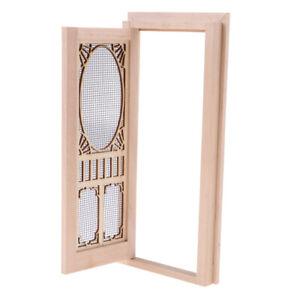 1//12 Dollhouse Miniature Wood External Hollow Screen Door Unpainted Crafted