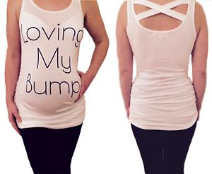 Maternity-Pregnancy-women-039-s-Loving-My-Bump-Slogan-Spring-Summer-white-t-shirt
