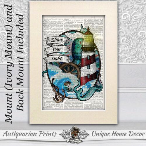 Light house et octopus Art Imprimé sur antique Dictionary Livre Page salle de bain décor