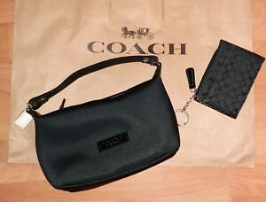 f9fe55d3d5 COACH Black Twill w Black Leather Trim Small Handle Pouch Bag ...