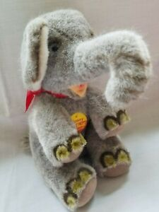 Vintage-Steiff-9-034-x-6-034-Plush-Dossy-The-Elephant-5810-22-Has-3-Tags-a-silver-Pin