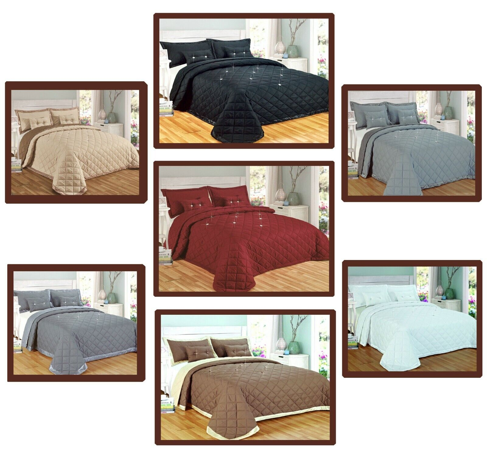 5 Pcs Complete Bedding set Comforter Quilted Bedspread with Pillowcase