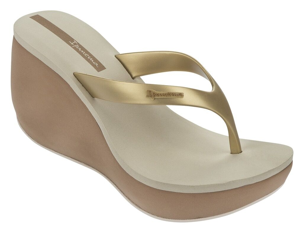 Ipanema Women`s Flip Flops Tango II Sandal Beige in Gold Platform Wedge 3.75 in Beige NWT 4ce1b3