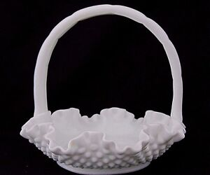 FENTON-HOBNAIL-WHITE-MILK-GLASS-HANDLED-BASKET-7-034-RUFFLED-CRIMPED-EDGES-NICE
