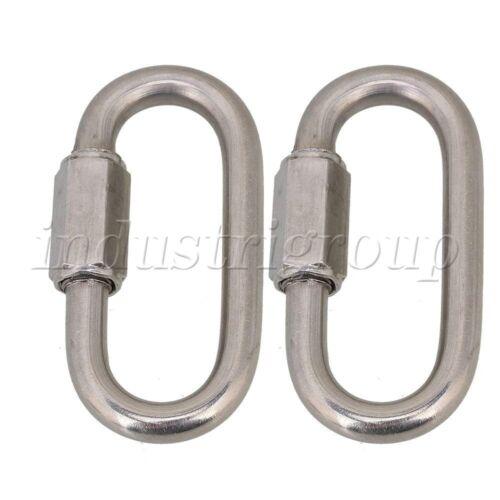 2Pcs M6 Camping Fishing DIY 304 Stainless Steel Quick Link Lock Ring Carabiner