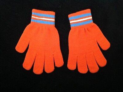Compiacente Kids Junior Ragazzi Ragazze Arancio Blu A Righe Bianco Caldo Inverno Knit Guanti 3 - 7- Imballaggio Di Marca Nominata