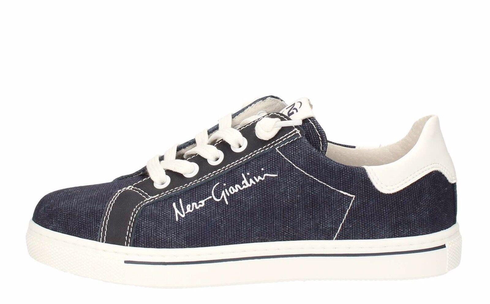 NERO GIARDINI jeans P734131M TEEN scarpe donna scarpe da ginnastica jeans GIARDINI pelle tessuto stringhe d16cc1