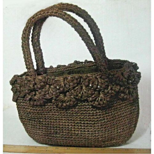 """MARCHIONESS 'straw' hand bag/purse 12"""" lined zippe"""