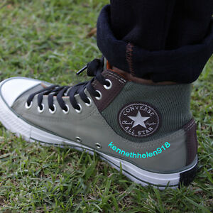 Converse Chuck Taylor All Star Zip Military Nylon Green Hi Top Trainers 149397C