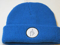 Vibetown Beanie Knit Hat Skull Cap Rare Blue 040 Bird Middle Finger