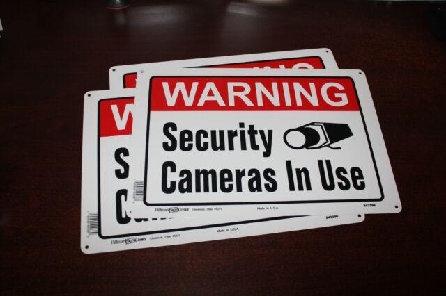Lot of 4 ALUMINUM Home Security Surveillance Camera System Warning Burglar Signs