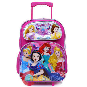 "Disney Princess Large School Rolling Backpack 16"" Roller Wheeled Bag Trolley"
