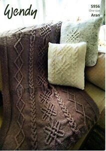 Wendy 5956 Aran Throw & Cushion KNITTING PATTERN --not the ...