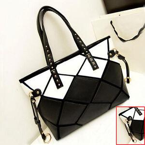 Womens-Leopard-Printed-Faux-Leather-Tote-Shopper-Purse-Shoulder-Bag-Handbag