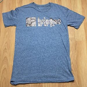 LuLaRoe-Blue-Gold-Solid-Logo-Classic-T-Tee-Short-Sleeve-Top-Shirt-Medium