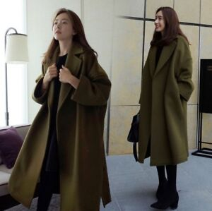 Women-039-s-Korean-Lapel-Loose-Trench-Coat-Fashion-Long-Jacket-Winter-Outwear-New