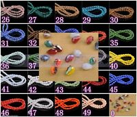 200pcs 3x5mm Teardrop Faceted Crystal Glass Loose Spacer Beads Wholesale 50color