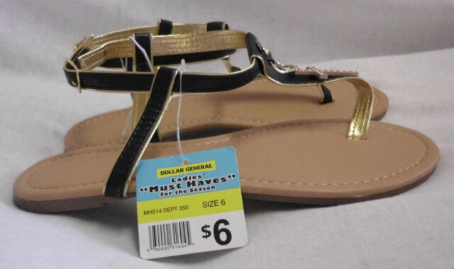 44bd2c02dd1c09 Must Haves Dollar General Sandals Size 6 M NWT Black   Gold Flat Ankle  Straps