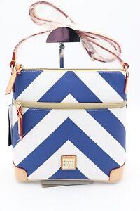 NWT-Dooney-amp-Bourke-Blue-White-Chevron-Print-Crossbody-Bag-Purse-New