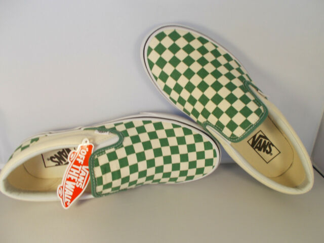 VANS Classic Slip-On Deep Grass Green Checkerboard Shoes Mens Sz 11.5 New In Box