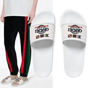 Gucci Zapatos Para Hombre Pursuit Diapositivas En Todo El Mundo Flip Flop Con El Logotipo Bordado En 10g 10 5 Ebay