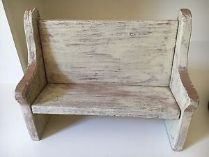 Fantastic Details About Miniature Bench Chair White Chic Shabby Wood Primitive Folk Art Pabps2019 Chair Design Images Pabps2019Com
