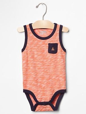 Gap Baby Boy Double Layer Tank Romper One Piece Orange Blue Size 0-3 Months NWT