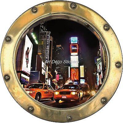 Sticker hublot trompe l/'oeil déco New York H377