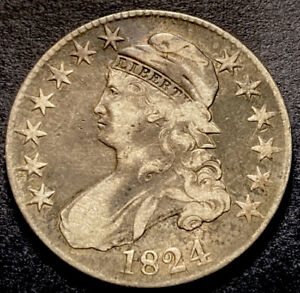 1824 Capped Bust Silver Half Dollar 50c O-107 Variety Better Early Date