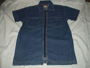 DENIM-amp-CO-women-039-s-Zipper-Front-w-Pockets-short-sleeve-SHIRT-JACKET-Size-S-EUC