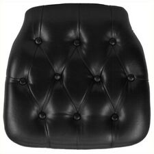 Bowery Hill Hard Tufted Vinyl Chiavari Chair Cushion In Black
