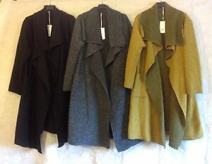 New-Ladies-Plus-Size-Boiled-Wool-Mix-Long-Waterfall-Pocket-Duster-Jacket-Coat