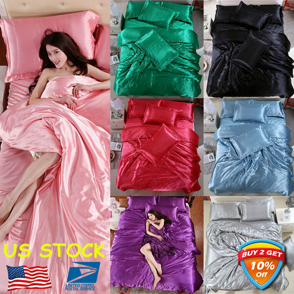 4PCS Solid Silk Bedspreads Bed Linen Cotton Duvet Cover Sets Bedsheet Pillowcase