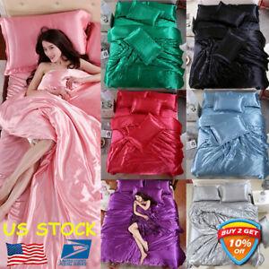 4PCS-Solid-Silk-Bedspreads-Bed-Linen-Cotton-Duvet-Cover-Sets-Bedsheet-Pillowcase