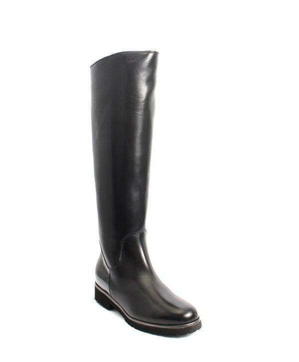 Luca Grossi 512a Black Leather / Patent Sheepskin Knee High Boots 38 / US 8