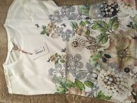 Ted Baker Women's Gem Garden Woven Front Crew Neck T-Shirt Top.   NEW SEASON
