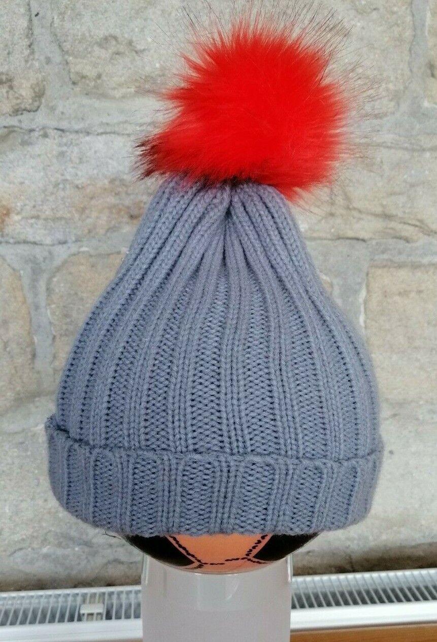 Bobble Hat - grey with orange bobble