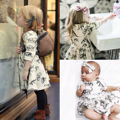 New Toddler Kids Baby Girls Animal Half Sleeve Dinosaur Dress Outfits Clothes CH