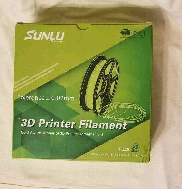 Sunlu 3D Printer Filament. Sky blue. Tolerance 0.02. Opened box. Unused.
