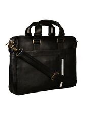 Genuine Leather Black Messenger Shoulder File Laptop Office Executive Men Bag