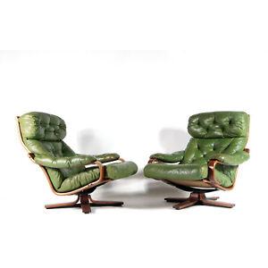 1-of-2-Retro-Vintage-Danish-Teak-Leather-Swivel-Lounge-Egg-Chair-Armchair-1970s