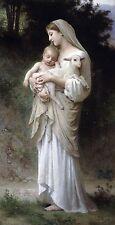 "William Bouguereau, L' Innocence, Baby Lamb, Mother, antique,20""x10 Canvas Art"