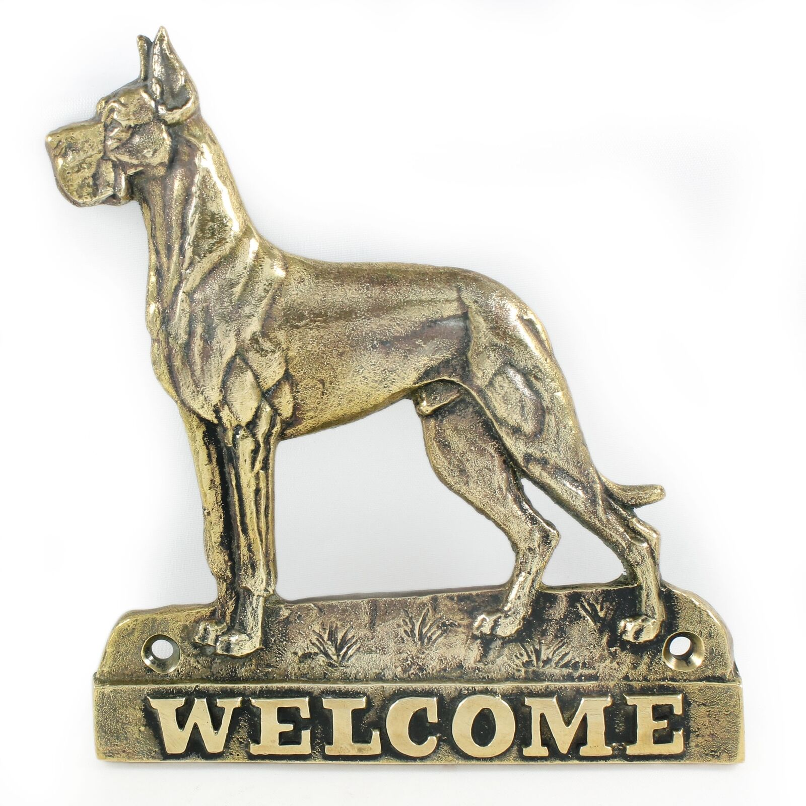 Great Dane type 2 - brass tablet with image of a dog, Art Dog