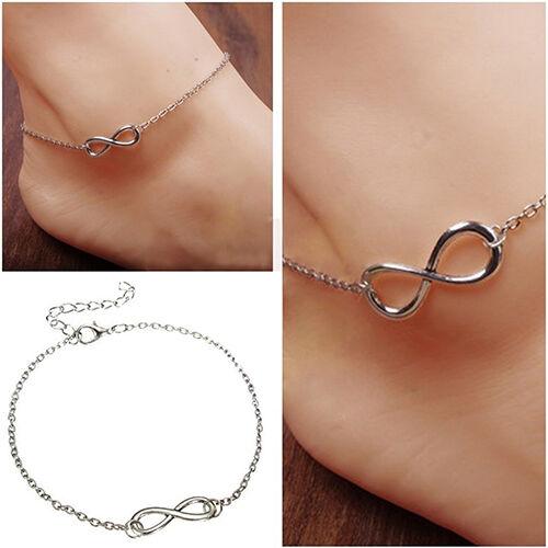 Infinity Ankle Anklet Chain Bracelet 25cm   Gold Colour UK SELLER
