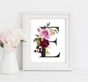 Monogram Vivero Pared Arte, Floral Boho, púrpura rosado Vivero 5x7 o 8x10, 622-A