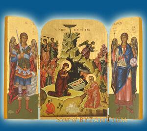 orthodox icon triptych christmas weihnachten ikone gold. Black Bedroom Furniture Sets. Home Design Ideas